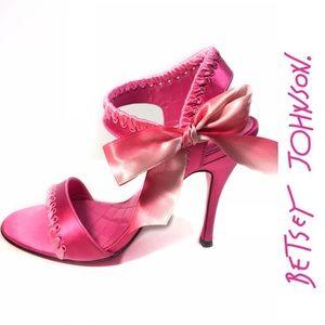 Betsey Johnson Hot Pink Ribbon Accent Satin Heels